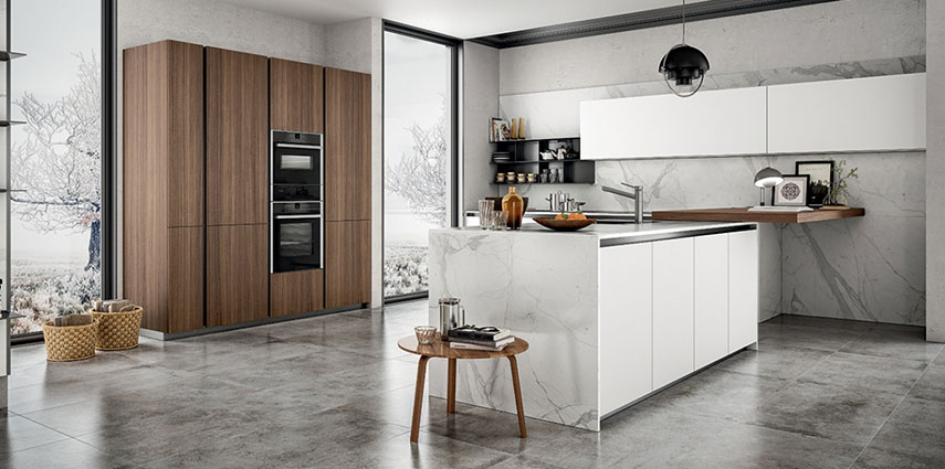 Cucina in laminato simile al legno