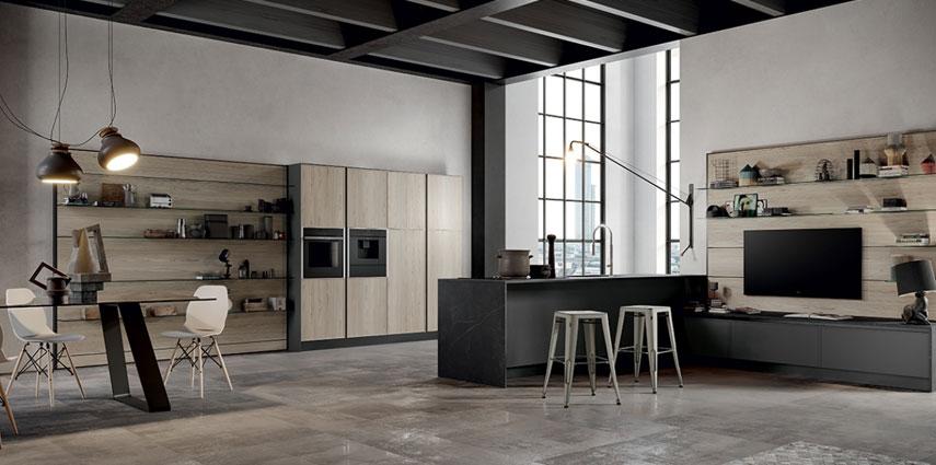 Cucina moderna simil legno